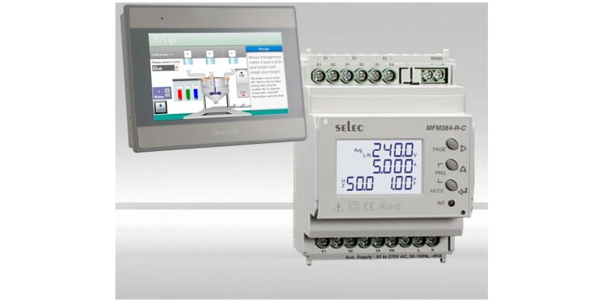 Konfiguracja połączenia miernika parametrów sieci Selec MFM384-R-C a Weintek MT8071ie